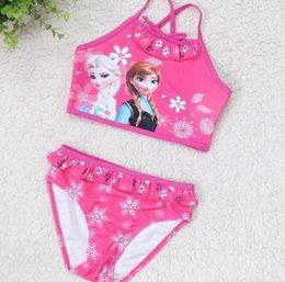 Wholesale Frozen princess Children s Beach Supplies Swimwear Summer Princess Swimsuit Swimming Bikini Two colors