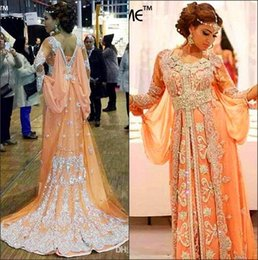 Wholesale 2016 Middle East Elegant Kaftan Abaya Arabic Evening Dresses Long Sleeves Beaded Sequins Appliques Chiffon Long Dubai Muslim Dresses