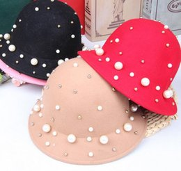 Wholesale 2016 Children Girls Hats Kids Faux Pearl Accessories Wool Hat Baby Caps Bucket Fisherman brimmed Hat Girl Korean Fashion Cap Candy Colors