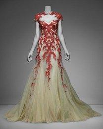Wholesale Apliques de alta Monique Lhuillier roja del cordón de la manga del casquillo del cuello de la sirena de magníficos vestidos de noche del partido atractivo elegante vestido de fiesta Vestidos Vestidos Chic