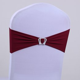 Wholesale Wedding chair covers rhinestone ribbon crown buckle with the finished product back elastic bow tie chair cover decorative
