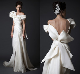 Wholesale 2015 Krikor Jabotian FW14 Sheath Wedding Dress Draped Satin and tulle Bridal Gown with Bow and Backless and One Shoulder