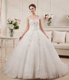 Wholesale Real Model Beaded Stones Ball Gown Wedding Dresses Straps Cap Sleeve Full Skirt Bridal Gown Available Plus Size Free Petticoat