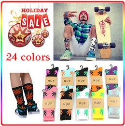 Wholesale 24 colors Hot High Crew Socks Weed Skateboard hiphop socks Leaf Maple Leaves Stockings Cotton Unisex Plantlife Socks