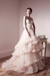 Wholesale Spaghetti Stratps Tiered Ruffles Ball Gown Wedding Dresses Zipper Back Sweep Train Tulle Pink Applique Lace Bodice Wedding Dress Pink