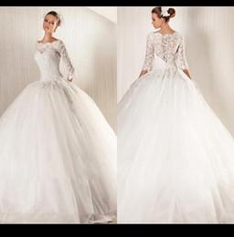 Wholesale 2015 Vintage Half Sleeve Ball Gown Wedding Dresses Jewel Lace Tulle Puffy Skirt Full Length Bride Bridal Gowns Dress Plus Size Dubai Abaya
