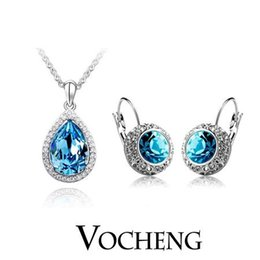 Wholesale Crystal Austrian Pendant Jewelry Sets White Gold Plated piece Dress colors Vs Vocheng Jewelry