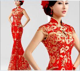 Wholesale red lace fishtail cheongsam dress toast clothing Slim qipao chinese cheongsam traditional chinese dress