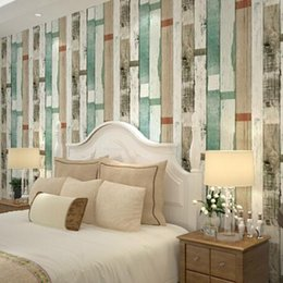 designer realistic wood panel stripes vintage wallpaper embossed effect feature bedroom children room home decor