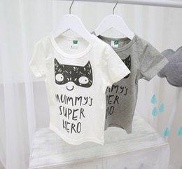 Wholesale Hot sale summer kids unisex fashion t shirts MUMMY S SUPER HERO letter print grey white basic tee