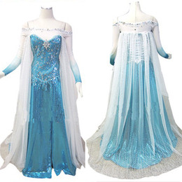 Wholesale Movie Cosplay Costume Frozen Princess Elsa Dress adult L005