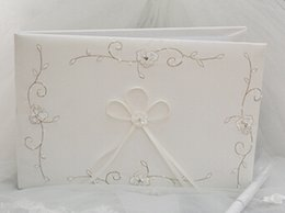 Wholesale Wedding Guest Books With Embroidery Satin Ivory Wedding Ceremony Accessories Wedding Favors Party Supplies Table Decorations Centerpieces