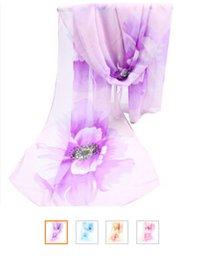 Wholesale Hott Women Cheap Flowers Chiffon Long Scarfs Fashion Chiffon shawls Women Silk Scarves Women Wraps Quatrefoil Scarf Infinity Scarves