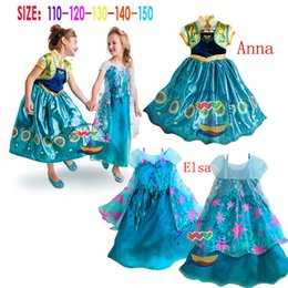 Wholesale 2015 New style elsa and anna dress kids elsa costume baby girls costumes for kids fantasia clothes Elsa coronation dress