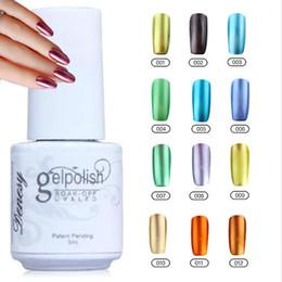 Wholesale 12Pcs Gelish Nail Polish UV Gel Metallic Mirror Effect Soak Off Nail Lacquer Brand New Top Quality Long lasting Colors Color ml