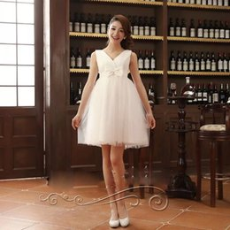 Wholesale 2014 New Arrival Short Party Dresses Sequin Bridal Toast Clothing Slim V Collar Sweet Evening Dresses Elegant Special Occasion Dresses Bowkn