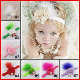 Wholesale Chiffon Rose Feather headbands Baby Girls color M T Feather Fascinator Cocktail headband feather Rose head bands