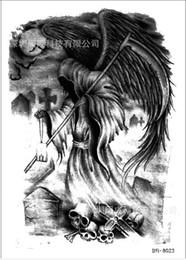 Wholesale Europe and skull tattoos male tomb bat sickle Death bigger flower tattoos arm Death Temporary Tattoo Body Art skeleton tattoo