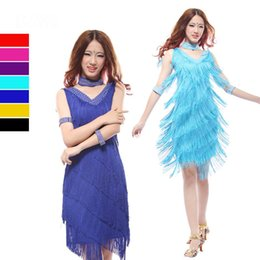 Wholesale Latin dance dress fringe dance dresses sexy fringe knee length dress Salsa tango tassel dresses black red blue purple colors L XL size