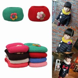 Wholesale Kids Scarf Girls Scarves Child Neckerchief Lovely Soft Warm Knitted Children s Ring Scarves Wraps Colors Choose ENL
