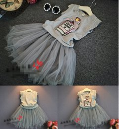 Wholesale 2016 sleeveless vest gauze skirt girl dance clothes years old baby beach party casual two piece set A4