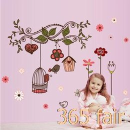 the new wall stickers for kids room decor flower vinyl vine wall art decals and birdcage adesivo de parede infantil 5070 p3