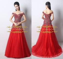 Wholesale Best selling A line sheath red off shoulder bride wedding dress in stock quick shipping crystal beaded sequins ball gown ZAHYD39