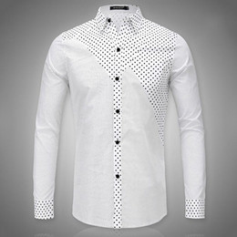 Discount White Shirt Black Dots For Men | 2017 White Shirt Black ...