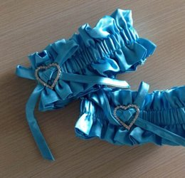 Wholesale Blue Bridal Garters Satin With Crytal Bridal Accessories In Stock Buy Two Get One Free