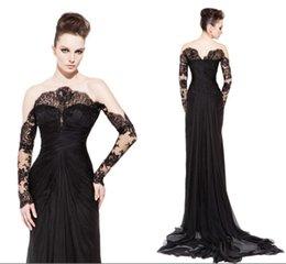 Wholesale Nuevo diseño de encaje de manga larga Negro Off Plisados hombro Ilusión Atractivo vestidos de noche largos vestidos de baile Red Carpet Krikor Jabotian
