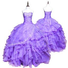 Wholesale Shining Sweetheart Crystal Beads Light Purple Quinceanera Dresses Ball Gowns Formal Prom Dress Sweet Girls Debutante Dress