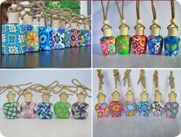 Wholesale 10ml ml Car hang decoration Ceramic essence oil Perfume bottle Hang rope empty bottle