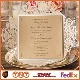 Wholesale Wedding Invitations Gold Paper Free Printing Laser Cutting Wedding Invitation Flowers Hollow Wedding Cards HQ1131