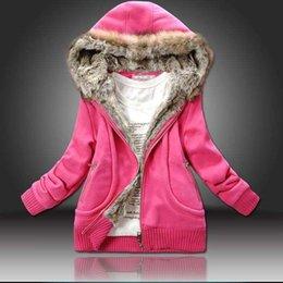 Wholesale Ajouter Black taille XL plus gros manteau d hiver Sweatshirt Hoodies fourrure capuche Manteaux femmes vêtements épais manteau veste C5410