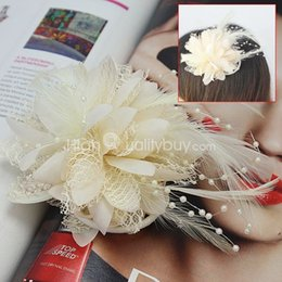 Wholesale Women Cute Feather Hairpin Clip Headwear Hair Ring Decoration For Party Prom