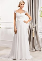 Wholesale Glamorous Column Wedding Dresses Sheer Straps Chiffon Applique And Beads Off shoulder Capped Short Sleeve Lace up Court Train Birdal Gowns