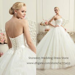 Wholesale Customized Ball Gown Lace Strapless Wedding Dresses with Sash Corset Back Appliques Ivory White Bridal Gowns W4370