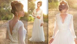 Wholesale Simple Long Sleeve Boho Wedding Dresses Deep V Neck Empire Waist Open Back Beautiful Country Rustic Wedding Dresses For Pregnant Women LA