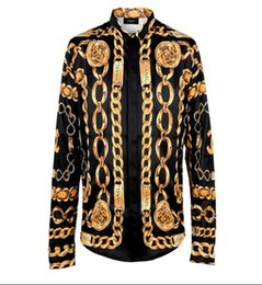 Wholesale New Arrival Brand Royal Style Shirts Fashion Shows Fabric Silk Shirts Men s Long Sleeve High Quality Gold D Print Shirts