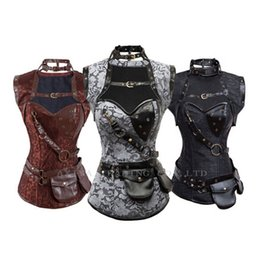 Wholesale New Steampunk Coset Top Retro Gothic Full Steel Boned Brocade Vintage Steampunk Bustier Corsets Brown High Neck Corselet