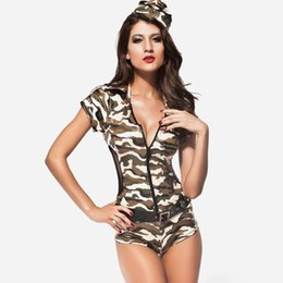 Wholesale European and American star models GAGA sexy singer army green short sleeved leotard triangle mounted policewoman show