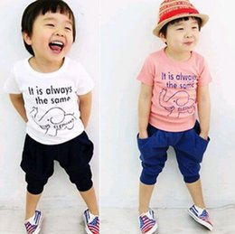 Wholesale S hot selling kids clothes set summer baby clothing for boys girls T shirt pants
