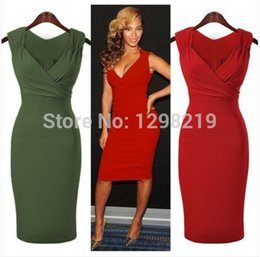Wholesale Sexy V Neck Sheath Knee Length Short Cocktail Dresses Sleeveless Club Party Gowns Women Summer Dress