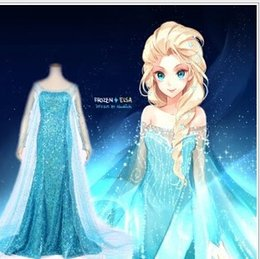 Wholesale 2015 Ice Queen Elsa Princess Prom Dresses Theme Costume Cosplay women snow Blue Sequined Party Formal Dress Halloween Clothes