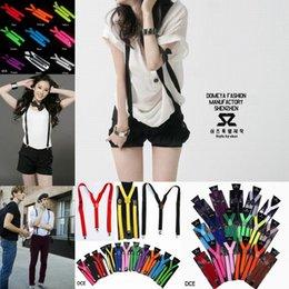 Mulheres Homens Clip-on Elastic Suspensórios ajustável em forma de Y cor sólida Suspensórios vestido suspensórios 9 cores escolhem DCE * 1