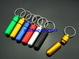 Wholesale 100pcs Aluminum pill container box case stash boxes witn keychain key ring pill holders medicine case pill Bottle organizer mm