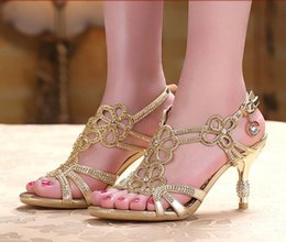 Wholesale Gold Blue Sandal Floral Crystal Rhinestones cm High Heels New High Quality Prom Evening Party Dress Women Lady Bridal Wedding Shoes