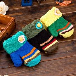Wholesale 2015 colors Baby Girls Mittens Finger Gloves Winter Woolen Christmas Gift Children Kids Crochet Warmth Cartoon Flower Mitts vghbf6t