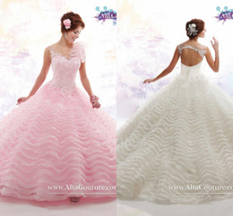 Wholesale New Arrival Glamorous Quinceanera Dresses Prom Ball Gowns Appliques Ruffles with Cap Sleeves Keyhole Back Girls Pageant Gowns T145