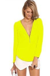 Wholesale Deep Zipper V Neck Women Blouses Size S XXL Blusas Femininas Sexy Chiffon Women Shirt Tops